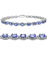 Genuine Tanzanite Tennis Bracelet Crafted in Sterling Silver ( 5 3/4ct tw, 7 1/4 inch)