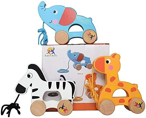 Tooky Toy Fun and Educational Learning Wooden Pull Along Zebra