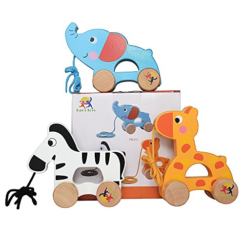 Wooden Pull Along Toy Set of 3- Beautiful Giraffe, Elephant & Zebra Pull Along Toy for Baby Boy & Girl- The Best Toy for 1-Year Olds and up- Outdoor & Indoor Toy for Babies & Toddlers- Child Safe Toy -