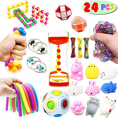Plane Stress Reliever - Sensory Fidget Toys Mix Pack-Stress Relief Hand Toys for Kids and Adults-Small Toy Assortment Calming Toys and Squeeze Widget for Relaxing Therapy-Perfect for Children with ADHD Anxiety Autism(24 Pcs)