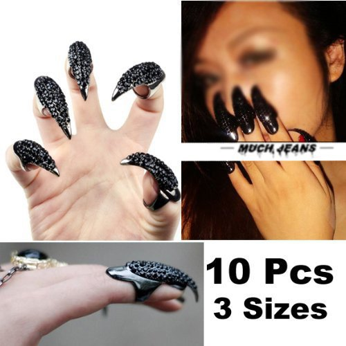 VStoy 10 Pcs False Nail Claw Paw Talon Finger Ring Crystal Gothic Punk Cosplay (Black)]()