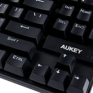 AUKEY Mechanical Keyboard with Blue Switches, 87-Key Gaming Keyboard for PC and Laptop Gamers