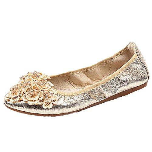 Opsun Women's Gold Size Uk 2 Flats Ballet wOwSZH