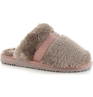 Ella Womens Jill Faux Sheepskin Look Fur Lined Memory Foam Mule Slippers