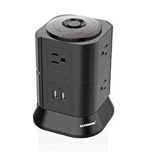 Black Surge Protector with USB SAFEMORE Power Strip Tower USB Charger 7 Outlets 2 USB Desk Plug Station with Overload Protection and 6.5ft Power Cable for Mobile Bluetooth Headsets etc. Electronics