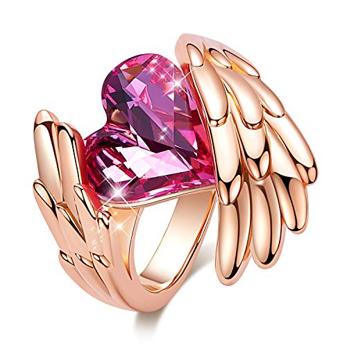 CDE ''Pink Angel Rose Gold Plated Wing Rings for Women Heart Shape Embellished with Crystals from Swarovski Rings, Fashion Jewelry Gift for Mother Day (8 and 9 Size) ()