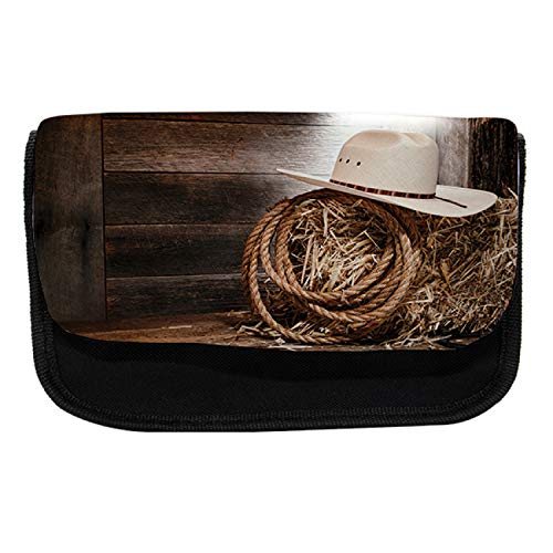 Ambesonne Western Pencil Case, Wooden Folk Robe Hat, Fabric Pen Pencil Bag with Double Zipper, 8.5