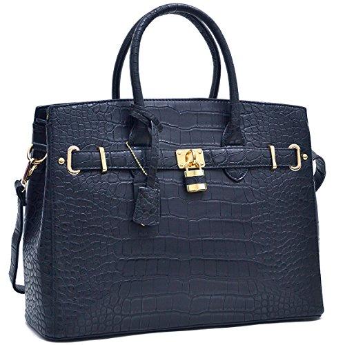 Dasein Top Handle Faux Leather Padlock Structured Briefcase Satchel Handbag, Tablet, iPad Bag