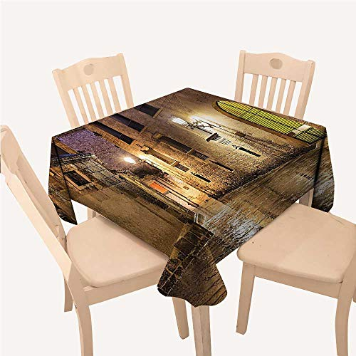 (WilliamsDecor Gothic Decor Table Cloth Cover Gothic Ancient Stone Quarter of Barcelona Spain Renaissance Heritage Gothic Night Street PhotoCream Square Tablecloth W70 xL70)