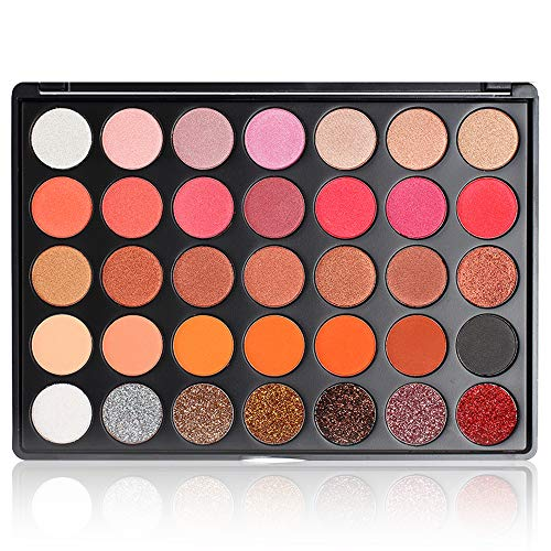 Warm Eyeshadow Palette, FindinBeauty 35 Neutral Colors Matte Shimmer Glitter Silky Powder - Highly Pigmented Nudes Natural Red Pro Eye Shadow Makeup Set (35GF)