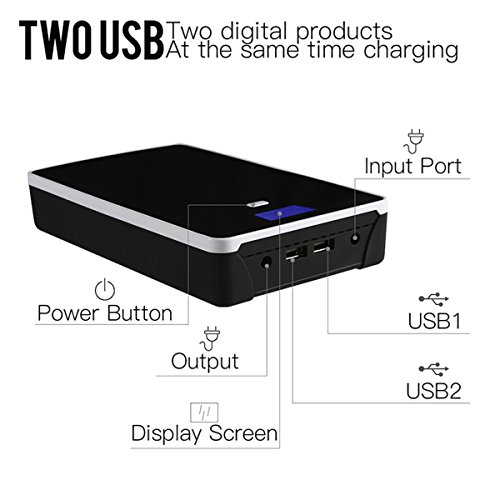 Laptop Power Bank 130000mAH Portable Charger External Battery for Tablet& Notebook–Most of Sony Dell Hp Toshiba Samsung Lenovo Acer IBM NEC Mobile 5/7/9/12/14/16/19v (not for Apple Laptop) by FIVE CENTS (Image #2)