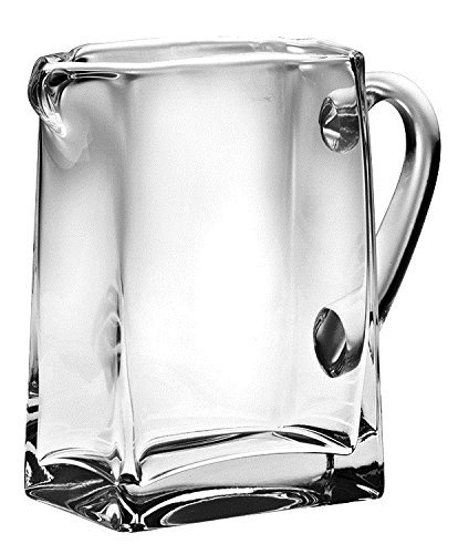 Made in Europe 6.75H Ice Lip Barski Handmade Rectangle Glass Pitcher with handle With Spout 6.75H 32 oz.