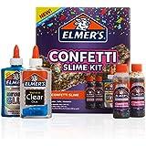 Elmer's Confetti Slime Kit   Slime Supplies Include Metallic Glue, Clear Glue, Confetti Magical Liquid Slime Activator, 4 Count