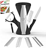 ProCuisine 4 Blade Vegetable Spiralizer Bundle - Knife, Peeler, 101 Recipe eBook, Gift Box, Spiral Slicer Julienne Cutter, Zucchini Spaghetti Noodle Maker