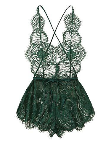 MAKEMECHIC Women's Lace Teddy Lingerie Deep V Backless Sleeveless Romper Sleepwear Green Large