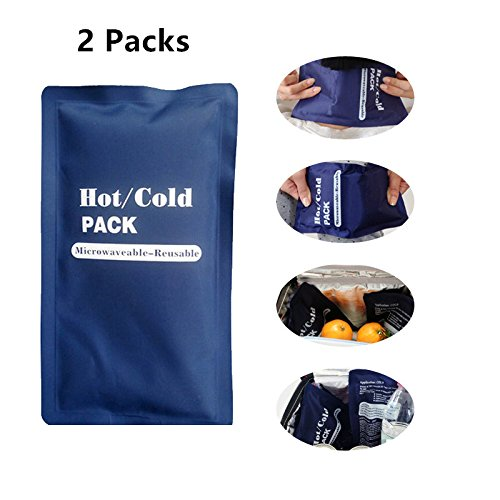Zinnor 2Pcs Hot & Cold Packs Reusable Water Ice Cold Bag for Injuries, Therapy Pain Relief Sports (Pack of 2)