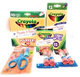 School Supplies Bundle - Blue Fiskars Pointed-tip Scissors, Crayola Markers, Colored Pencils and Crayons, Glue Sticks Bundle