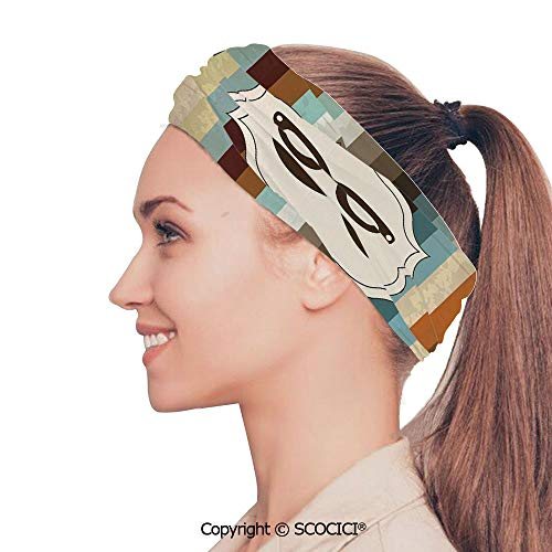 SCOCICI Stretch Soft and Comfortable W9.4xL18.9in Headscarf Headbands Funny Man Face with Moustache and Glasses Winking on Striped Background Sir Artwork,Multicolor Perfect for Running, Working Out,