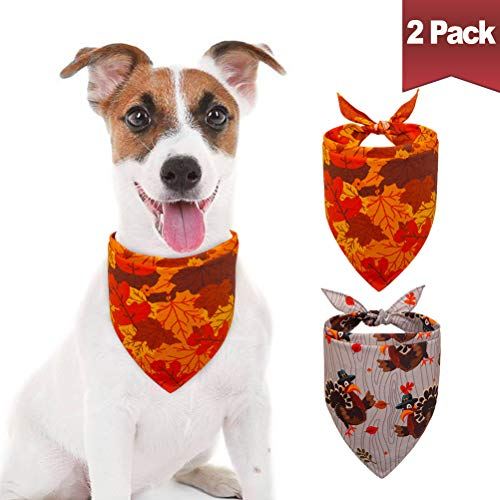 BINGPET 2Pcs Thanksgiving Dog Bandanas Cotton Triangle Bibs Turkey Maple Leaf Pattern Scarf for Small to Large Dogs