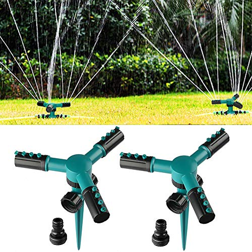 SupKing Lawn Sprinkler 2 Pack, Automatic 360 Degree Rotating Garden Sprinkler, Adjustable Lawn Irrigation System Covering Large Area with Leak Free Design Durable 3 Arms Sprayer, Water Play for Kids