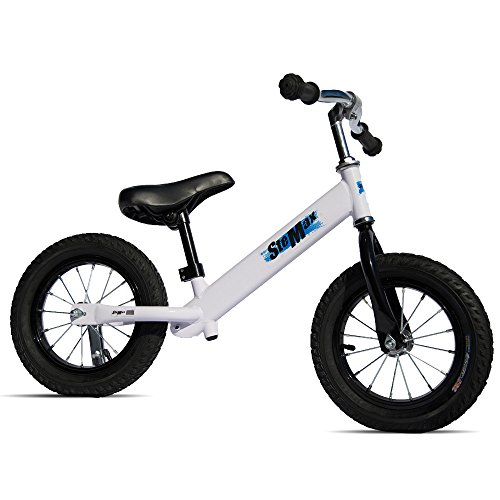 """12"""" Balance Bike, No Pedal Sport Bicycle with Carbon Steel Frame and Adjustable Handlebar and Seat, Perfect for Children, Toddler Ages 2 to 6 Years Old, 66 lbs Capacity (White) - Carbon Steel Handlebars"""