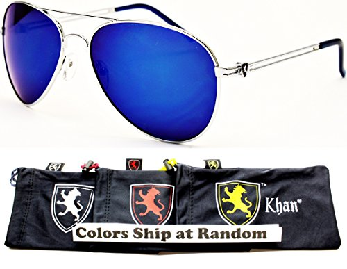 A153-KP Khan Brand Lion Logo Aviator Sunglasses (P1063C Silver-Icicle Blue Mirror, - Brands Logos Sunglasses