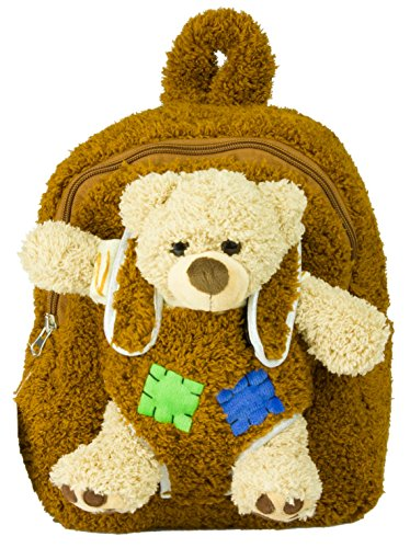 Plush Kids Backpack with Ride-Along Teddy Bear & Soft Adjustable Shoulder Straps. Boys & Girls Love Having a Real Knapsack Like Big Brother & Sister. Great Unisex Gift For Toddlers & Children Ages 3+ -