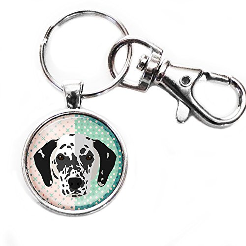 (Cute Dalmatian Silver Keychain with Large Lobster Claw)