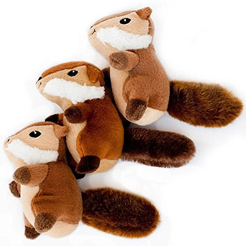 (ZippyPaws - Woodland Friends Burrow, Interactive Squeaky Hide and Seek Plush Dog Toy - Chipmunk Miniz, 3 Pack)