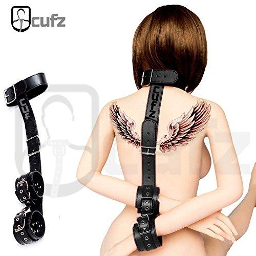 Sexy Leather Wrist Cuffs (Neck Collar & Wrist Cuffs Restraint Bring BDSM Fantasy Sex Play Excitement To Your Love)