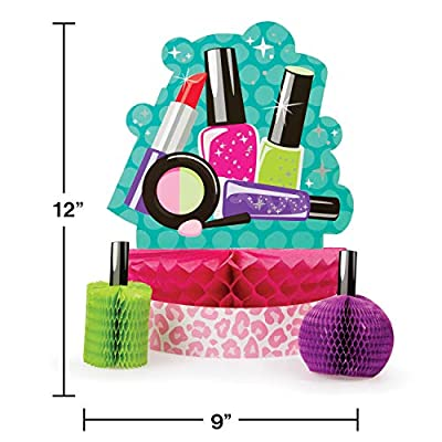 Creative Converting 317717 Sparkle Spa Party Honeycomb Table Centerpiece, Pink/Blue, Multi-Colored, Standard: Toys & Games