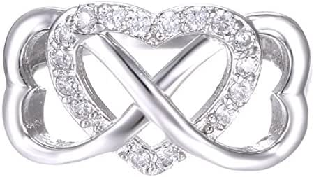 925 Sterling Silver Ring High Polish Cubic Zirconia Infinity and Heart Tarnish Resistant Comfort Fit Ring