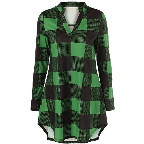 Women Plus Size Plaid Checks Long Sleeve Shirt Dress Loose Blouse Tunic Tops