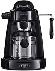 BELLA BLA13683 Personal Espresso Maker with Built-in Steam Wand and 5 Bar Pressure, black