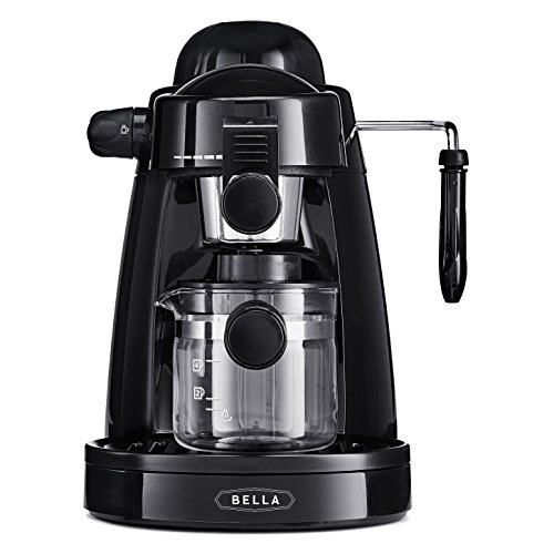 BELLA (13683) Personal Espresso Maker with Built-in Steam Wand, Glass Decanter, Permanent Filter & 5 Bar Pressure, ()