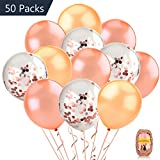COOLOO 50 Pack 12inch Rose Gold Confetti Balloon Set Including 15 Pieces Pre-Filled Confetti Balloons and 35 Latex Balloons with a Rose Gold Curling Ribbon for Wedding, Rose Gold Party Decorations, Bridal Shower, Birthday Party