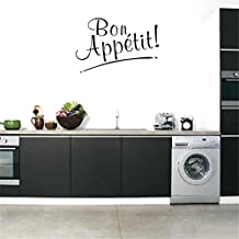 BIBITIME Bon Appetit Wall Decor Stickers for Kitchen Background Decals English Lettering Vinyl Quotes Sign Tile Sticker
