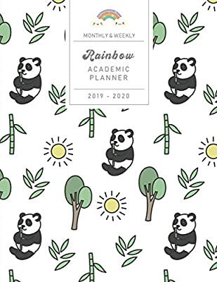 Monthly & Weekly Rainbow Academic Planner 2019 - 2020: Cute ...