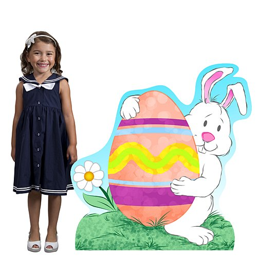 3 ft. 11 in. Easter Bunny & Egg Standee Standup Photo Booth Prop Background Backdrop Party Decoration Decor Scene Setter Cardboard Cutout -