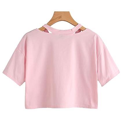 7943d0ae Women Tops Rose Print Short Sleeve T-Shirt Soft V-Neck Students Short Sexy