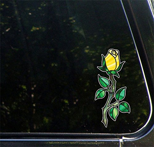 3 Yellow Love Roses - Rosebud on Long Stem w Thorns - Rose - Stained Glass Style Vinyl Decal for Car | Truck | Outdoor Use - Copyright © 2016 Yadda-Yadda Design Co. (3
