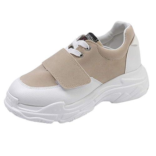 Zapatillas Casual Wedge Sneakers para Mujer, Zapatos Plataforma para Mujer Cómodas Mujeres de Ocio al Aire Libre rebaño Transpirable Grueso Zapatos ...