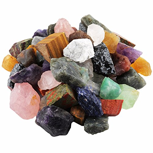 - mookaitedecor 1 lb Bulk Natural Raw Stones Rough Crystals for Healing,Tumbling,Cabbing,Polishing,Wire Wrapping,Wicca & Reiki,Assorted Stones