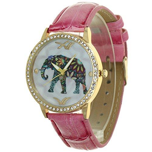 Designer Lady Watches Elephant Pattern Printed Arabic Numerial Hour Pointers Dial Rhinestone Case Convex Prism Crysal Women Japanese Quartz Analog Fashion Stylish Casual Dress Wristwatch Girls