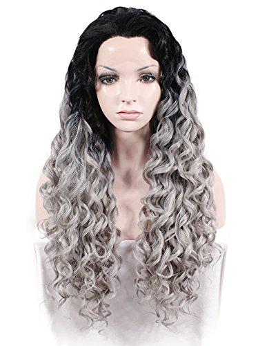 Imstyle® Afro Kinky rizado textura negro Color gris Ombre de pelucas Cosplay peluca Lace Front