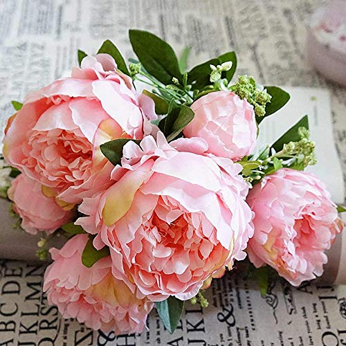 Artificial Dried Flowers - 7heads Bouquet Silk Artificial Peony Flowers Party Beautiful Fake Bouquet Home Garden Decor - Strelitzia Leaves Lisianthus Silk Vine Rose Peony Tulips Die Head ()