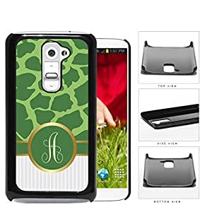 Customized Dark and Light Green Giraffe Animal Print Pattern and White Gray Vertical Stripes on Bottom with Green Monogram in Center Outlined in Gold Hard Plastic Snap On Cell Phone Case LG G2