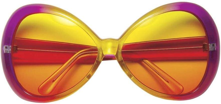 shoperama Sugar Babe - Gafas de sol para mujer, diseño hippie, color rosa y amarillo, tamaño XXL, para fiesta en la playa