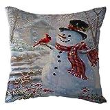 Bollysky Throw Pillow Covers Christmas Snow House Pillow Case Linen Sofa Throw Cushion Cover Home Decor for Home Decor