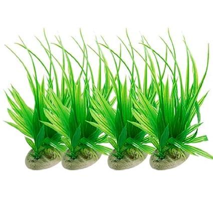 eDealMax Las plantas Jardin plástico acuario Paisaje hoja Larga Con Base, 4 piezas, Verde